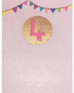 AGE 4 Card - Coloured Flags on Pink