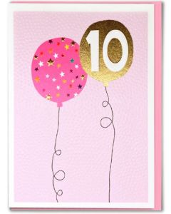 AGE 10 Card - Balloons on Pink