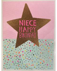 NIECE Birthday Card - Gold Star