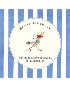 "Birthday Card - ""May you be as happy as a seagull with a french fry."""
