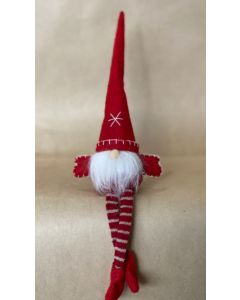 Cute long-legged SANTA in red hat