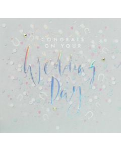Wedding greeting card - Silver pearl script with confetti