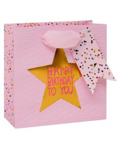 Gift bag small - Birthday STAR on pink