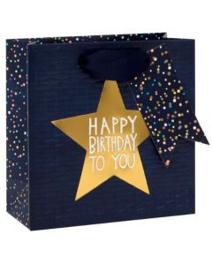 Gift bag small - Birthday STAR on blue