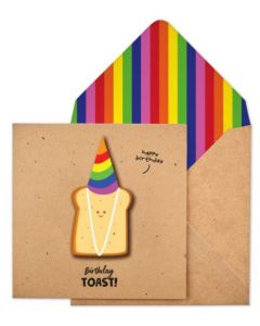 Birthday Card - Toast with Party Hat