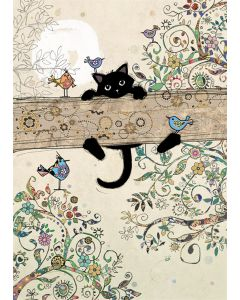 Greeting Card - Kitten on a Branch
