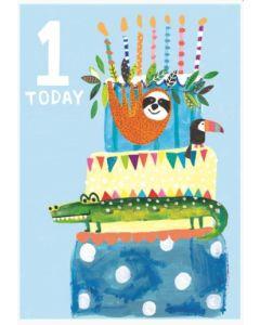 AGE 1 - Sloth, toucan & crocodile on cake