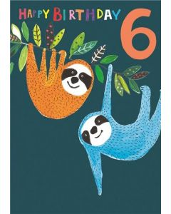 AGE 6 card - Sloths hanging out
