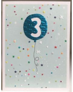 Age 3 - Blue balloon & stars