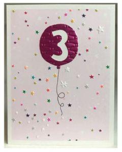 AGE 3 Card- Balloon & Stars