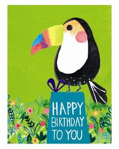 Birthday card - Toucan on aqua giftbox