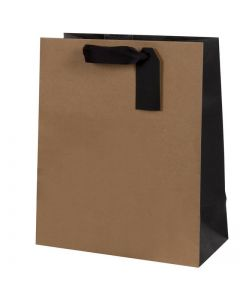 Gift bag Small - Kraft with black trim