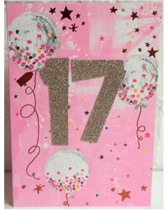 AGE 17 Card - Confetti Balloons