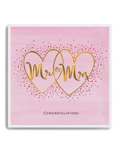 WEDDING - Mr & Mrs hearts on pink