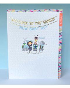 BABY BOY Card - Animal Train