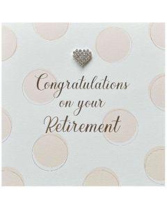Retirement - Heart diamante, soft pink spots
