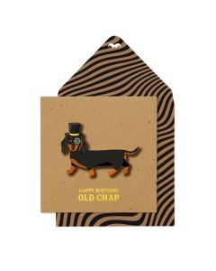 Birthday card - Dachshund in top hat