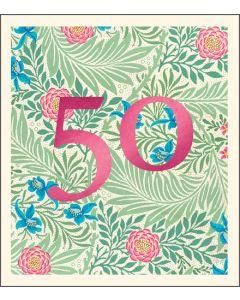 AGE 50 Card - Floral (WIlliam Morris)