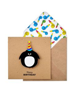 Birthday card - Penguin in party hat