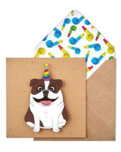 Birthday card - Staffy dog in party hat