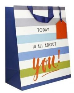 Gift bag - 'Today is all about you' (blue/grey stripe)