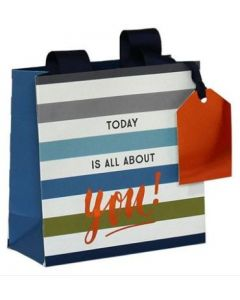 Gift bag Small - 'Today is all about you' (blue/grey stripe)