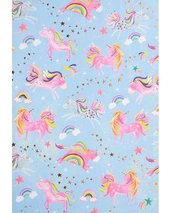 Unicorn & rainbows - folded wrapping paper