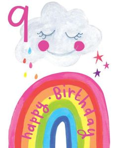 AGE 9 Card - Sweet Cloud & Rainbow