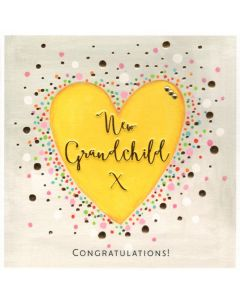 NEW GRANDCHILD Card - Yellow Heart 'Congratulations!'