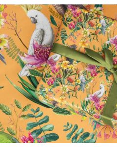 Australian birds on orange wrapping paper