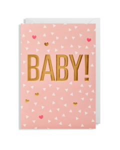 BABY Card - Gold on Pink