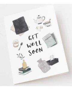 Get Well Card - Teapot, Tissues & Magazine