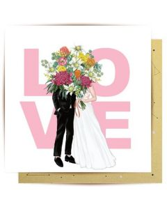 Wedding gift card - LOVE couple & flowers