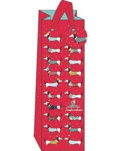 Dachshunds on red - Bottle bag