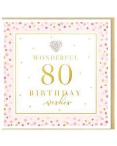 AGE 80 Card - Jewelled Heart