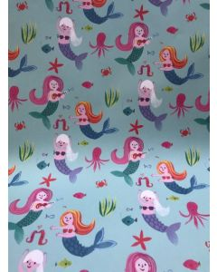 Mermaids on blue - folded wrapping paper