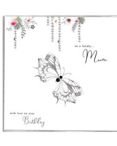 Mum Birthday - Butterfly with hanging floral vines