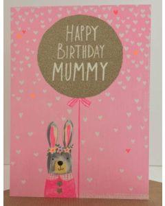 Mummy Birthday - Bunny & gold balloon on pink
