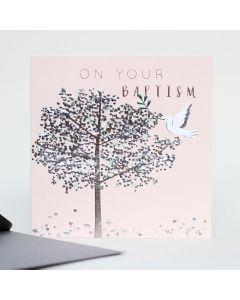 BAPTISM Card - Silver Tree