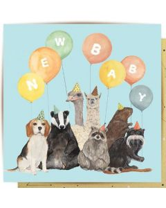 BABY gift card - animals & balloons