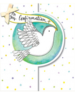 On your Confirmation - Dove with bow on die-cut card