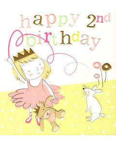 AGE 2 Card - Ballerina, Bear & Bunny