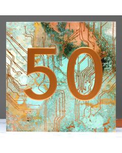 AGE 50 Card - Embossed Copper