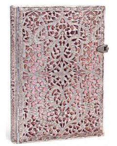 Silver Filigree BLUSH PINK - Midi size Lined journal
