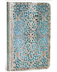 Silver Filigree Maya Blue - Mini size Lined journal