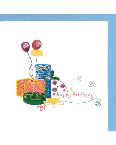 Birthday - Presents & Balloons Quilling card