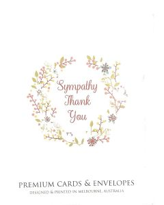 Sympathy Thank You card pack - Wreath design