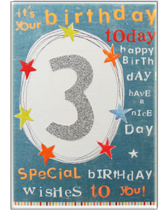 '3 It's Your Birthday Today' Card