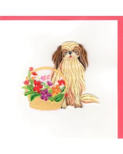Quilling Card - Puppy with Flowers