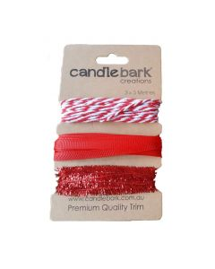 Wrapping Trim - Red/White string, grosgrain ribbon, tinsel - 15 mt.